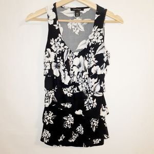 White House Black Market ruffled floral top XXS